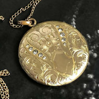 Antique Edwardian SKM Co Gold Filled Plated Paste Locket Chain Necklace Pendant