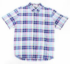 Ralph Lauren Mens Shirt Blue L Short Sleeve Plaid Classic Button Down $85 254