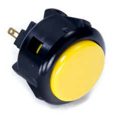 Sanwa OBSF-30mm Snap-in Button-Black Rim w/ Yellow Plunger-OEM