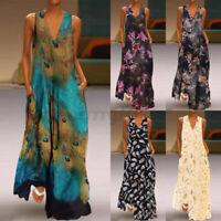 UK Womens Sleeveless Peacock Print Long Maxi Dress Bohemia Summer Beach Dresses