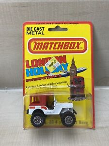 VTG Matchbox Jeep No 20 4x4 Desert Dawg London Holiday LESNEY ON CARD in England