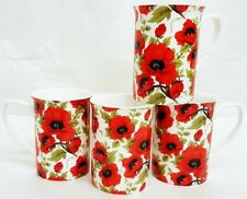 Coquelicot Rouge Tasses Set of 4 Fine Bone China Coquelicots mugs hand decorated in UK