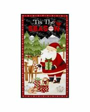 Debbie Mumm  Christmas Panel Fabric SANTA & FRIENDS FABRIC BTP NEW