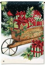 "12.5"" x 18"" Christmas Winterberry Cart Presents Small Decorative Banner Flag"