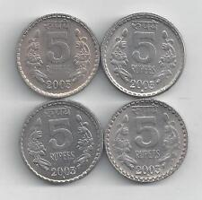 4 NICE 5 RUPEE COINS from INDIA (ALL DATING 2003 with MINT MARKS of B, C, H & N)