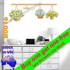 B0016 Flower Basket hanger Wall Decal Sticker Study Living Room Lounge Door Deco
