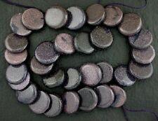 "15mm Round Coin Primitive Cut Layered Blue Goldstone Beads Gemstone 15"" Strand"