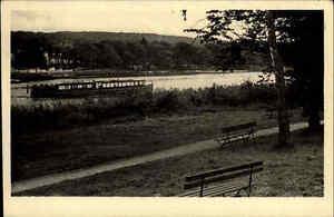 Malente Gremsmühlen Postkarte 1944 gelaufen Blick auf den Dieksee Boot Uferweg