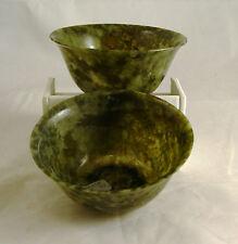 """Set of Vintage 4"""" Hand Carved Natural Translucent Jade / Serpentine / Stone Bowl"""