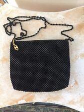 Y & S Original VTG  Black  Beaded Shoulder Bag  Cross Body Evening Chain Purse
