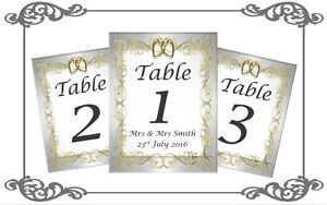 Double Sided Wedding Table Number Place Cards Numbers 1-10 & Top Table Vintage