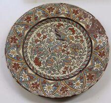 très ancienne assiette en émaux de thoune en suisse décor papillon et fleurs