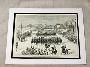 Antique Print Military Horse Guards Parade London Cavalry Troops 1882 LARGE