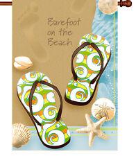 "New listing * Barefoot Beach * House Yard Patio Flag Banner 28"" Tropical Ocean Flip Flops"