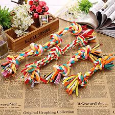 1X Neuf Coloré Chiot Chien Funny Jouet Coton Tressé Os Corde Chew Knot Rope S-XL