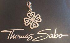 Thomas Sabo charm: filigree cloverleaf hearts, silver with cubic zirconia stone