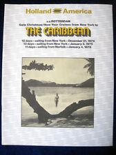 S.S. ROTTERDAM 1974-1975 Caribbean Cruises Brochure -- Holland America Cruises