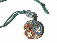 "Vintage Ecology Designs Brass ""Celebrate Life"" Necklace 1971 Terra Sancta Guild"