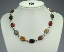"Natural multi-coloured oval jasper stone necklace, Tibetan silver spacers 19""+2"
