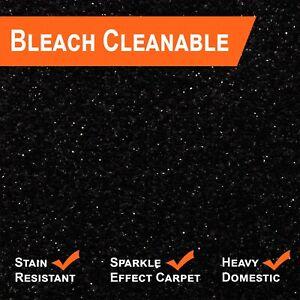 Sparkling Black Glitter Carpet Hessian/Felt Backing 5 Year Stain & Wear Warranty
