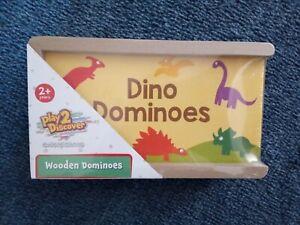 Children's Wooden Dinosaur Dominoes Game New Kids Toy