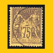 PAIX & COMMERCE 75c VIOLET SUR ORANGE - TYPE SAGE N° 99