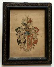 Aquarelle ancienne, Blason allemand ou alsacien? Cadre Napoléon III, XIXe