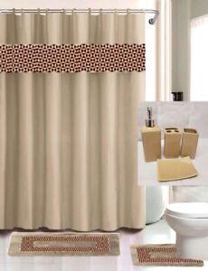 19PC SET BATHROOM BATH MATS SHOWER CURTAIN CERAMIC ACESORIES VERSATILE DESIGNS