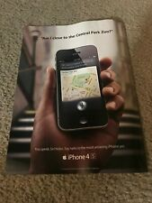 """Vintage 2012 APPLE iPHONE 4S Poster Print Ad 1ST SIRI INTEGRATED """"CENTRAL PARK"""""""