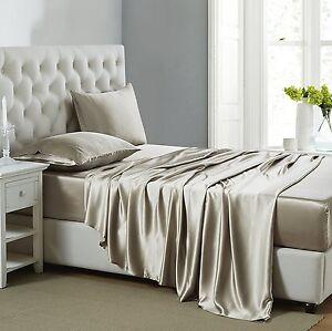 LOW PRICE Scala Brand Soft Satin Silk Duvet Set 1000 TC UK Size Taupe Solid