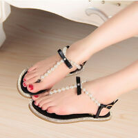 Women's Pearl Wedding Flats Rhinestone Party Beach Sandal Hollow Out Shoes Ths01