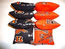8 Cornhole Bean Bag Set Baggo Cincinnati Bengals half solid BLK/OR