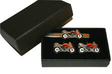 Red Motorbike Cufflinks & Tie Clip Set GIFT Boxed Enamel Wedding Suit/Tie Men's