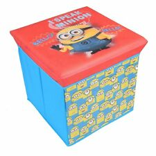 Despicable Me Minion Childrens Storage Stool Ottoman Kids Box Toy Chest Blue New