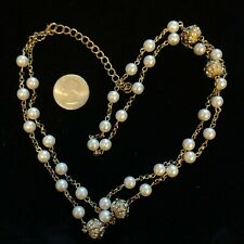"""Vintage fashion jewelry Gold tone Pearl bead chain Necklace approx 38-41"""""""
