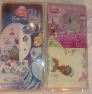 LOt OF 2 DISNEY PRINCESS WALL DECALS CINDERELLA AND TIANA NEW IN DAMAGED PACKAGE