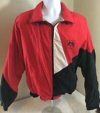 Vintage Dodge Ram Jacket Colorblock Red Black White Large Fleece Lined USA Made
