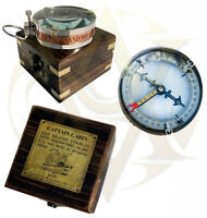 Antique Brass Compass With Wooden Box Marine Pocket Camping Hiking Watch Gift 3""