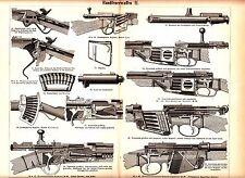 1887 OLD WEAPONS GUN RIFLE Antique Engraving Print
