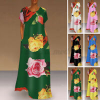 Women Short Sleeve Floral Printed Shirt Dress Bohemia Long Maxi Dress Sundress