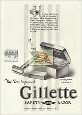 REPRINT PICTURE old GILLETTE SAFETY RAZOR ad HIS FACE CAN'T CONCEAL COMFORT 5x7