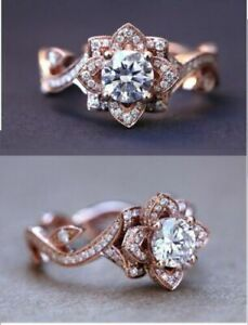 2.95CT White Round Cut Diamond Floral Engagement Ring in 14k Rose Gold Finish