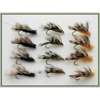 Sedgehog Trout Flies. 12 x Black, Orange & Olive, Mixed 10/12, Half Hogs