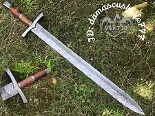 BEAUTIFUL CUSTOM HAND MADE DAMASCUS STEEL HUNTING VIKING SWORD HANDLE OLIVE WOOD