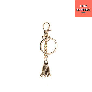 Metal Keyring Aged Tassel Charm Drop Clasp & Ring Closure