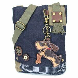 New Chala Patch Crossbody Messenger  Bag  Denim Navy Blue Dog WIENER DACHSHUND