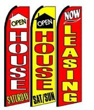 Open House now Leasing King Size Swooper Flag Sign W/Complete 3 Set