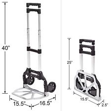 150 Lbs Luggage Cart Folding Dolly Collapsible Trolley Push Hand Truck Black