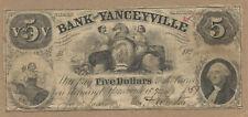 USA BANK OF YANVEYVILLE N.CAROLINA 1857 5 DOLLAR F VERY RARE!!!