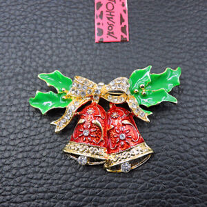Women's Red Enamel Crystal Exquisite Bowknot Bell Betsey Johnson Brooch Pin